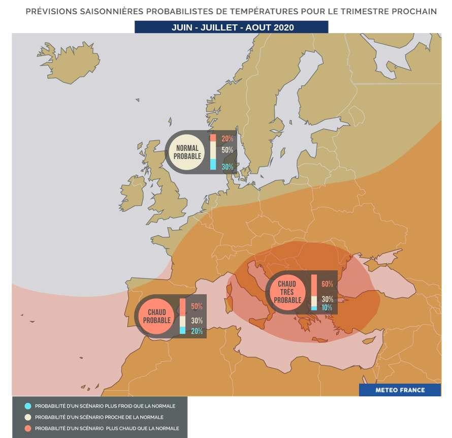 Prévisions saisonnières pour l'été 2020 : un été plus chaud que la moyenne en France, sud sur la façade Atlantique. © Météo France