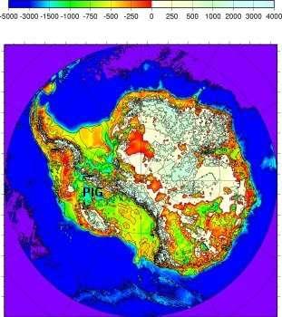 Figure 1 : Carte de l'altitude du socle antarctique. Les couleurs ont été choisies pour mettre l'accent sur la partie au-dessous du niveau de la mer. Le glacier de Pine Island (PIG, Pine Island Glacier) est le plus productif des glaciers de l'inlandsis antarctique. © CNRS Photothèque FRE2192 - LGGE - Saint-Martin d'Hères