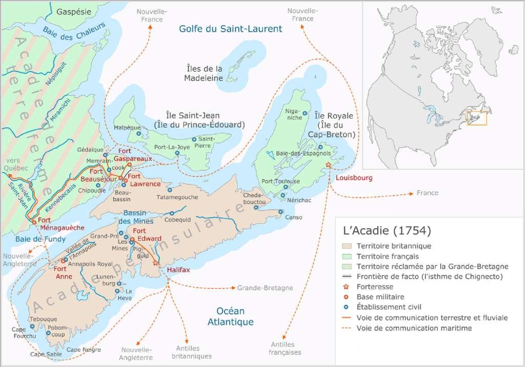 L'Acadie en 1754. © Wikimedia Commons, domaine public.