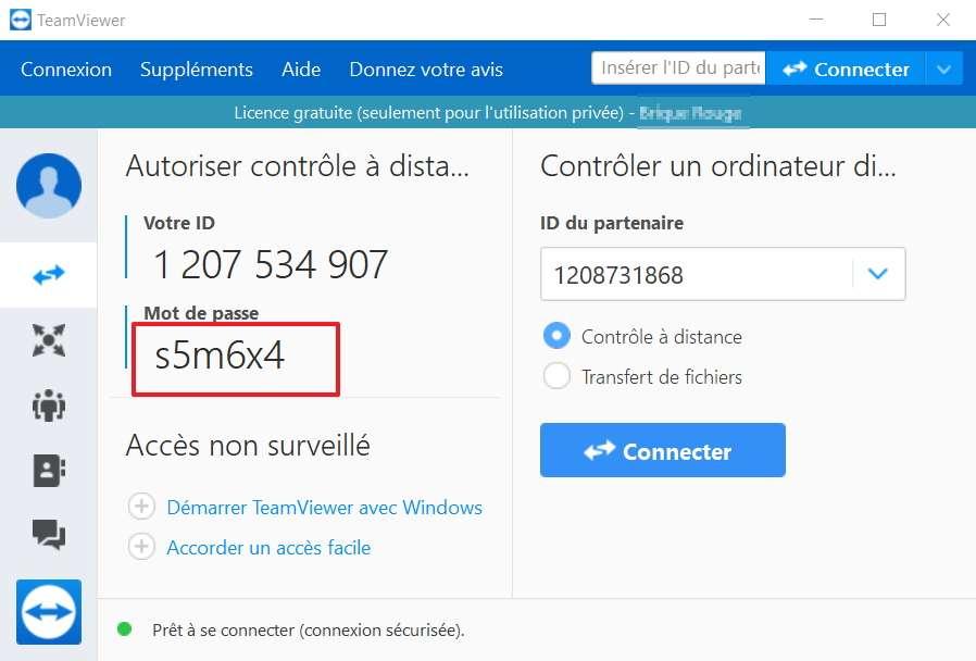 TeamViewer a généré un nouveau mot de passe. © TeamViewer GmbH