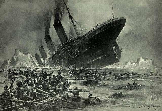 Le Titanic a sombré dans la nuit du 14 au 15 avril 1912. Des touristes s'apprêtent à embarquer à bord d'un sous-marin pour en retrouver l'épave au fond de l'océan. © Willy Ströwer, Wikipedia, Domaine public