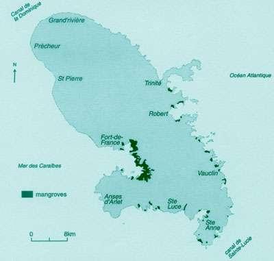 Localisation des mangroves de la Martinique (d'après Portecop, 1979) - Tous droits de reproduction interdit