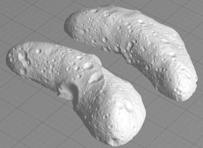 La Nasa propose également un fichier permettant de reproduire l'astéroïde Éros d'une longueur réelle de 34 km. Le fichier .stl permet d'imprimer les deux hémisphères à assembler ensuite afin d'obtenir une reproduction de quelque 5 cm de long. © Nasa