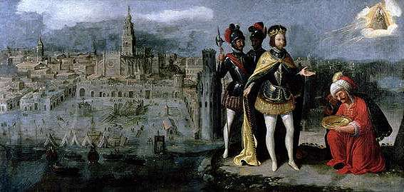 La capture de Séville par Ferdinand III en 1248. Peinture de Francisco Pacheco en 1625. © Wikimedia Commons, domaine public