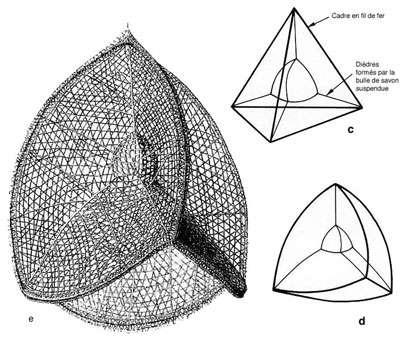 c et d : modèles tétraédriques obtenus par immersion d'un cadre tétraédrique dans une solution savonneuse. e : architecture de Calimitra agnese. Comparer d et e.