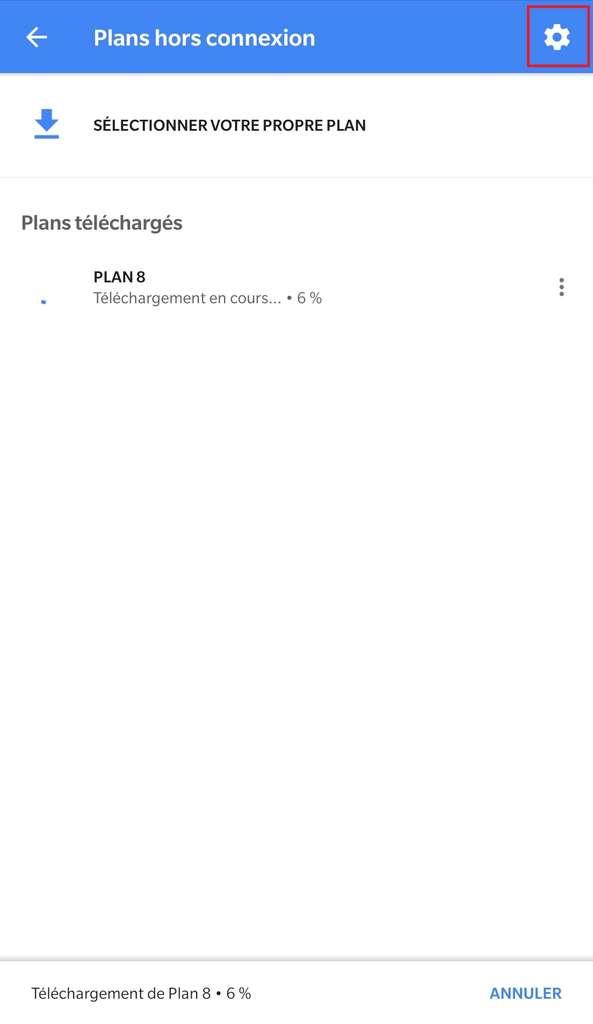 Menu des plans hors connexion – sélection des paramètres. © Google Maps
