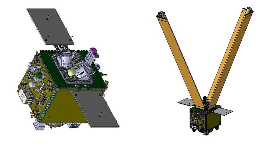 Deux vues CAO du satellite Microscope avec le système désorbitation IDEAS plié (à gauche) et déployé (à droite). © Cnes