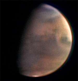 Photographie de Mars réalisée par la caméra HRSC de Mars Express (crédit : ESA)