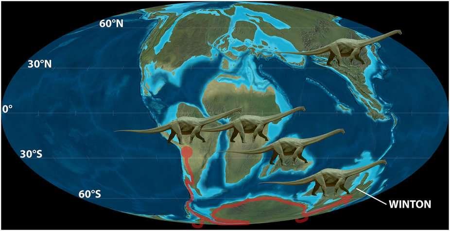 Une reconstitution de la paléogéographie des continents il y a environ 100 millions d'années. La future région de Winton où a été découvert le sauropode australien est indiquée. © Colorado Plateau Geosystems