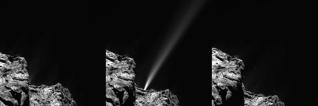 Rosetta fut le témoin d'une intense et brève éruption de gaz et de poussières le 29 juillet 2015. Il n'y a rien sur la première image d'Osiris, à gauche, mais 18 mn plus tard un jet plus lumineux que la comète fut visible. Sur la dernière image, 18 mn après, le phénomène avait disparu ! La sonde était alors à 186 km du centre du noyau. © Esa, Rosetta, MPS for Osiris Team MPS, UPD, LAM, IAA, SSO, INTA, UPM, DASP, IDA