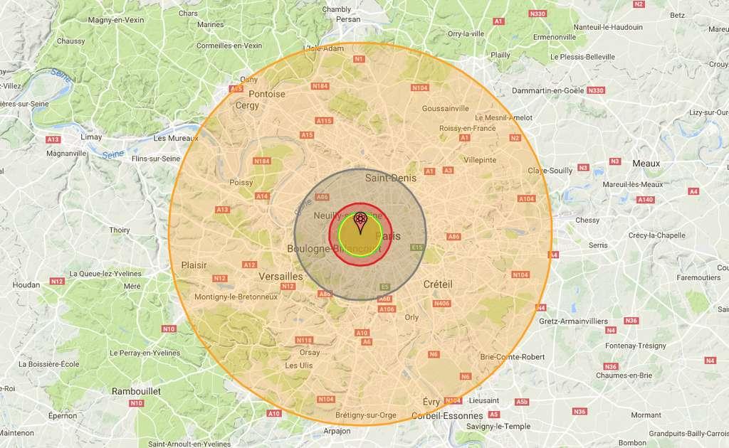 Si une bombe H équivalente à Ivy Mike, tombait sur Paris, voici les zones qui seraient directement touchées : au centre, la zone d'impact de l'explosion nucléaire (environ 3,2 km ; 6,1 km pour Tsar Bomba, la bombe H la plus puissante mise au point en 2017) à proprement parler ; ensuite, une zone dans laquelle le souffle de l'explosion est tel que rien n'y résiste (environ 3,4 km) ; puis, une zone subissant des radiations suffisantes à tuer – sans prise en charge médicale rapide – jusqu'à 90 % de la population (environ 4,75 km) et une zone subissant des effets du souffle encore suffisants pour détruire les habitations (environ 9,99 km et 32,6 km pour la bombe H la plus puissante mise au point en 2017) et enfin, l'aire subissant des effets thermiques de l'explosion allant encore jusqu'à des brûlures au troisième degré (environ 29,1 km et 73,7 km pour Tsar Bomba, soit jusqu'à Chartres).