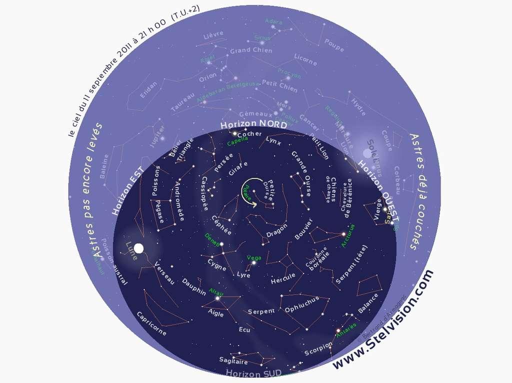 Cette carte du ciel permet de visualiser la constellation de Céphée en début de soirée au cours du mois de septembre.© Stelvision.com