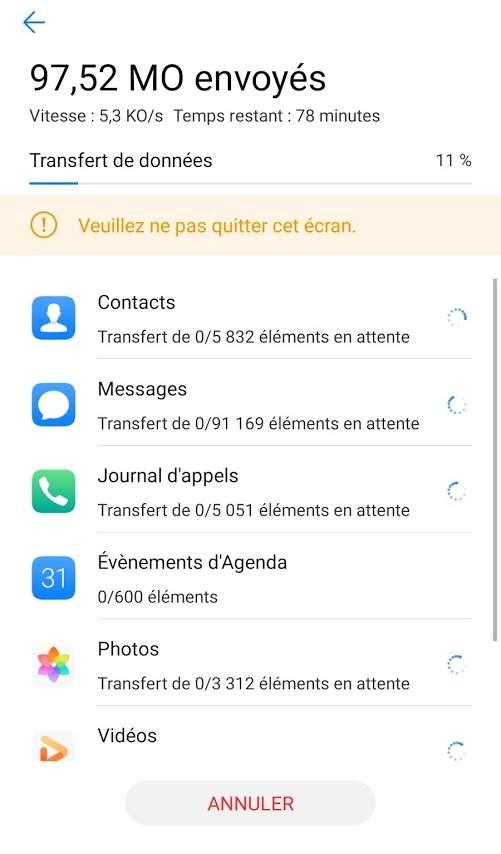 Comme son nom l'indique, l'application Phone Clone vient cloner le contenu de l'ancien téléphone pour tout retrouver sur le P40 Pro. C'est efficace, même si les applications incompatibles avec le mobile ne font pas partie du transfert © Futura