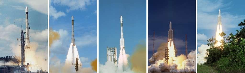 Du premier lancement d'une Ariane en décembre 1979, à celui de la version 10 tonnes, le fleuron de la gamme d'Arianespace, voici en image les premiers lancements réussis de chaque version de la famille Ariane. De gauche à droite : 1re Ariane 1 (24 décembre 79), 1re Ariane 3 (4 août 1984), 1re Ariane 4 (15 juin 1988), 2e Ariane 5G (30 octobre 1997) et 2e Ariane 5 ECA (12 février 2005). © Esa/Cnes/Arianespace - Service optique CSG