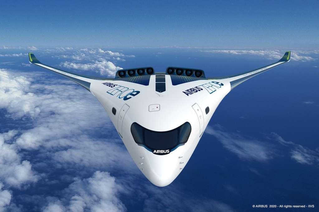 Troisième concept : Blended-Wing Body (BWB). L'apparence visuelle de l'avion sera amenée à changer en raison des contraintes de stockage de l'hydrogène. © Airbus