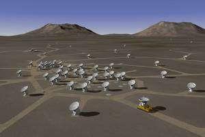 A terme, le réseau de l'Alma sera constitué de 66 antennes réparties sur 18 kilomètres, combinées entre elles pour fournir le plus grand radiotélescope du monde. Crédit Alma