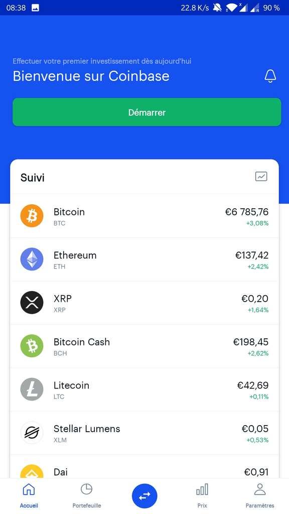 La page d'accueil de l'application Coinbase affiche en temps réel les cours des principales devises numériques. © Coinbase