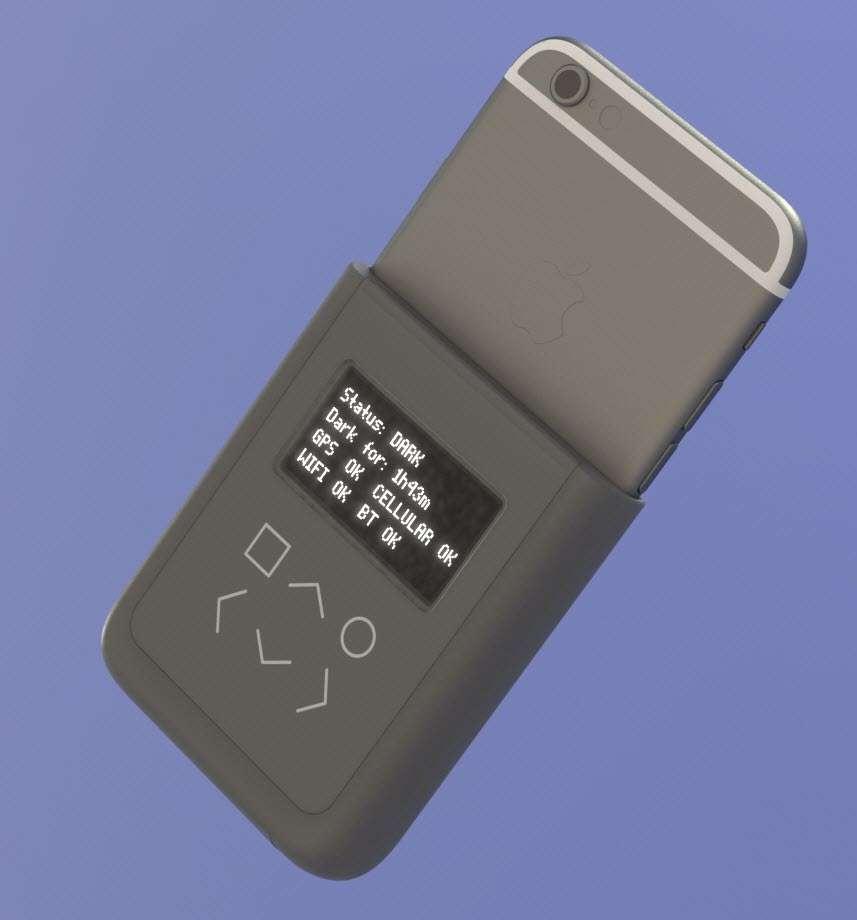 Voici à quoi ressemble la coque-batterie pour iPhone 6 qu'ont développée Edward Snowden et le hacker Andrew « bunnie » Huang. À l'intérieur, un oscilloscope miniature surveille l'activité électrique du modem, des modules Bluetooth, NFC et Wi-Fi ainsi que la puce GPS. © Andrew « bunnie » Huang, Edward Snowden