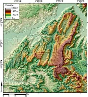 Modèle numérique de terrain du massif du Vercors. © Wikipedia