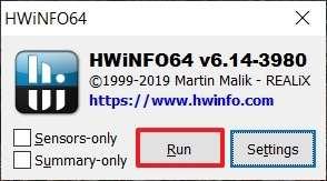 Cette fenêtre de réglages apparaît au lancement du logiciel. © HWiNFO