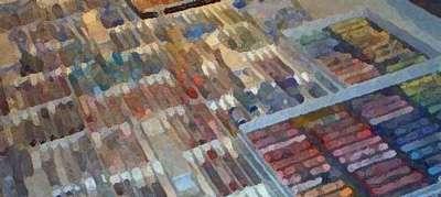 Pastel, palette de bâtons. © DR