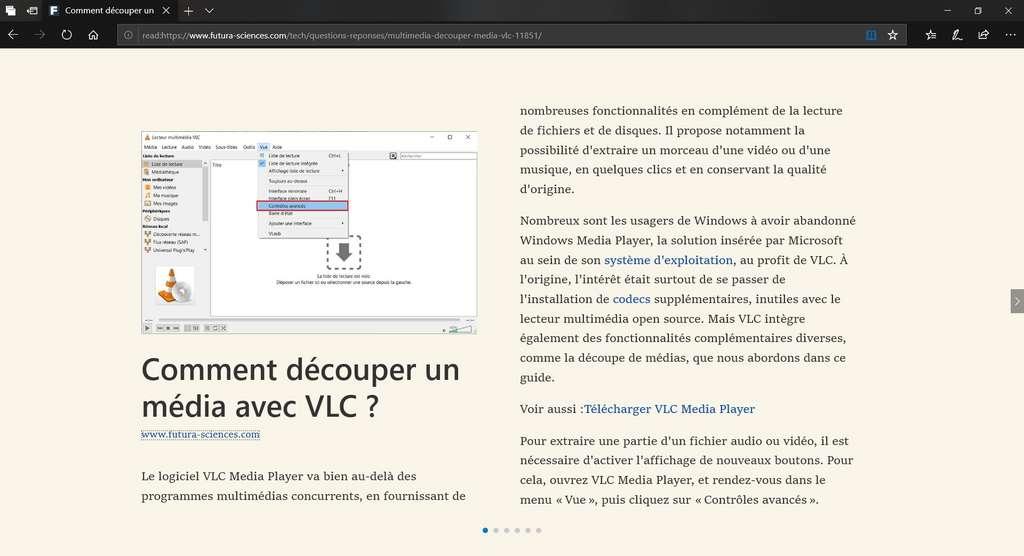 Visualisation d'un article sur Futura-Sciences avec Microsoft Edge et le mode lecture activé. © Microsoft Corporation