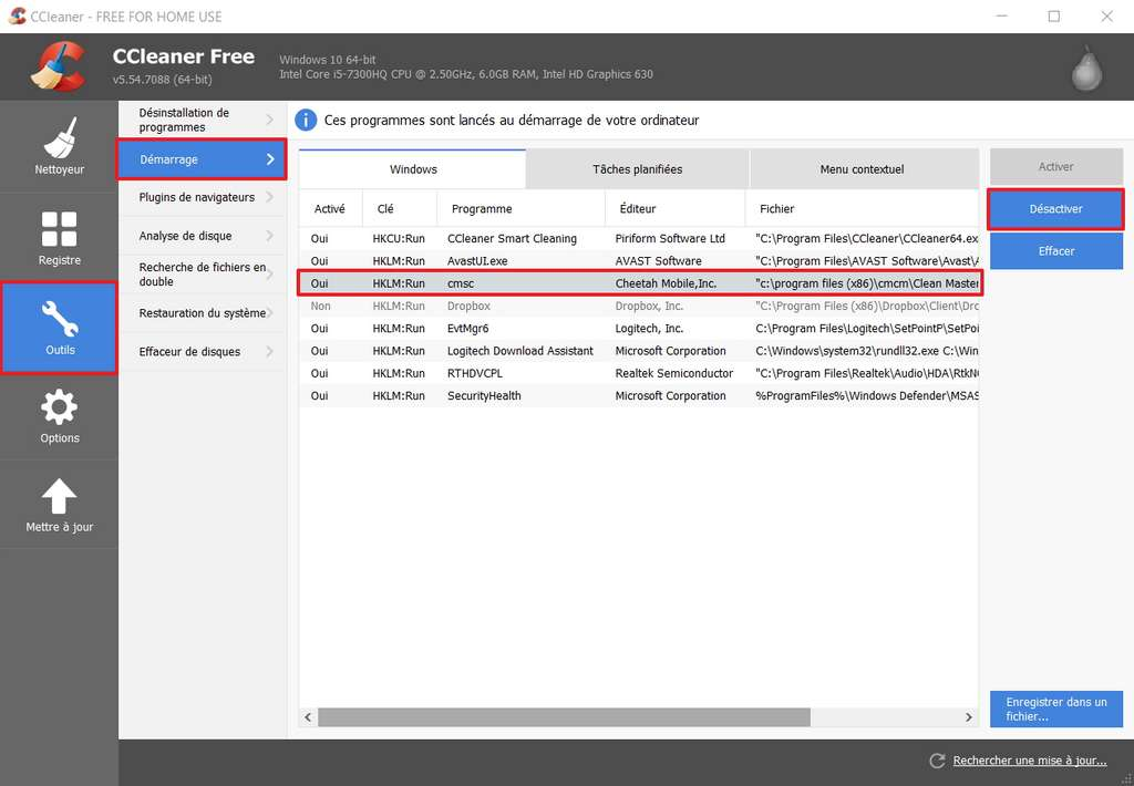 Désactiver certains programmes se lançant en même temps que Windows augmente la vitesse de votre PC. © Piriform