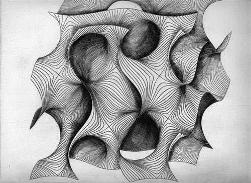 Gravure de gyroïde. © Patrice Jeener, tous droits réservés