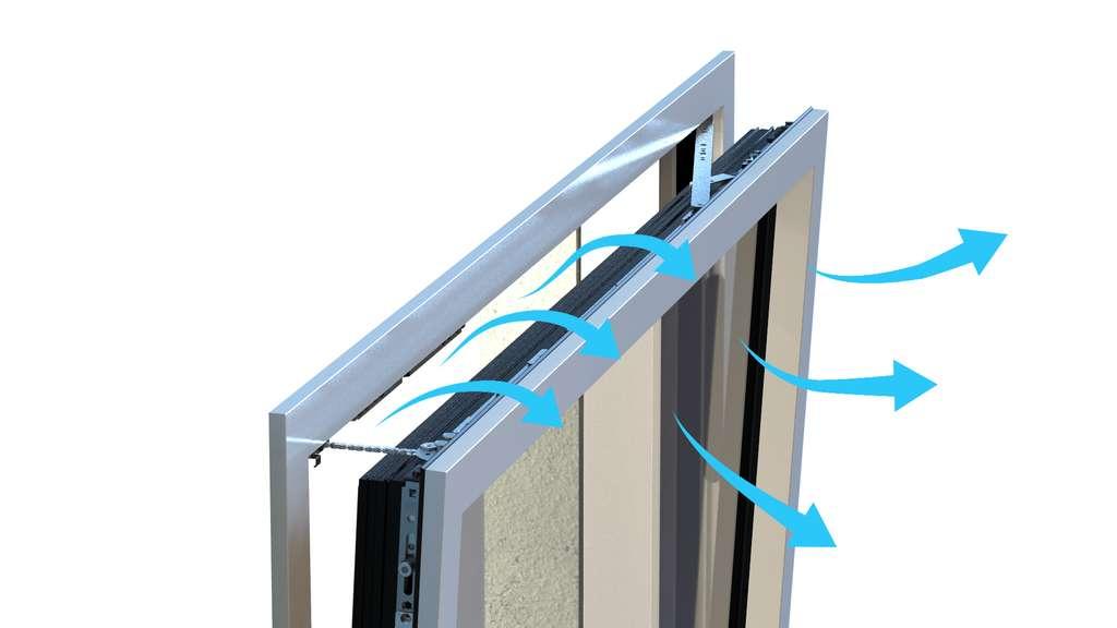 Équipée d'une motorisation silencieuse et invisible, la fenêtre pilotée FPi de K-Line peut être associée à un capteur de qualité d'air, laissant passer un léger filet d'air quand cela s'avère nécessaire. © K-Line