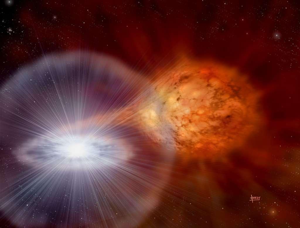 Des explosions spectaculaires continuent de se produire dans le système d'étoiles binaires nommé RS Ophiuchi. Tous les 20 ans environ, l'étoile géante rouge jette suffisamment d'hydrogène gazeux sur son étoile naine blanche pour déclencher une explosion thermonucléaire à sa surface. À environ 2.000 années-lumière de distance, les explosions en novae qui en résultent font que le système RS Oph devient visible à l'œil nu. L'étoile géante rouge est représentée à droite du dessin ci-dessus, tandis que la naine blanche est au centre du disque d'accrétion brillant à gauche. Alors que les étoiles tournent en orbite, un flux de gaz passe de l'étoile géante à la naine blanche. Les astronomes supposent que, à un moment donné au cours des 100.000 prochaines années, suffisamment de matière se sera accumulée sur la naine blanche pour la pousser au-dessus de la limite de Chandrasekhar, provoquant une explosion beaucoup plus puissante et finale connue sous le nom de supernova SN Ia. © David A. Hardy & PPARC, APOD