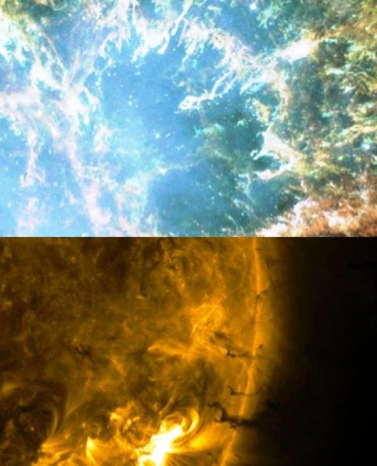 En comparant l'image du haut prise par Hubble et celle du bas qui est l'œuvre de SDO, on remarque que les restes de la supernova à l'origine de la nébuleuse du Crabe (en haut) ont une structure en forme de filaments se subdivisant, qui ressemble beaucoup à celle observée lors d'une éjection de masse coronale géante le 7 juin 2011 (en bas). Un même phénomène physique est à l'œuvre : l'instabilité de Rayleigh-Taylor.