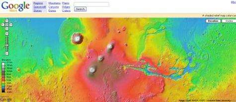L'interface de Google Mars est semblable à celle de Google Local. © Nasa/JPL/Arizona State University