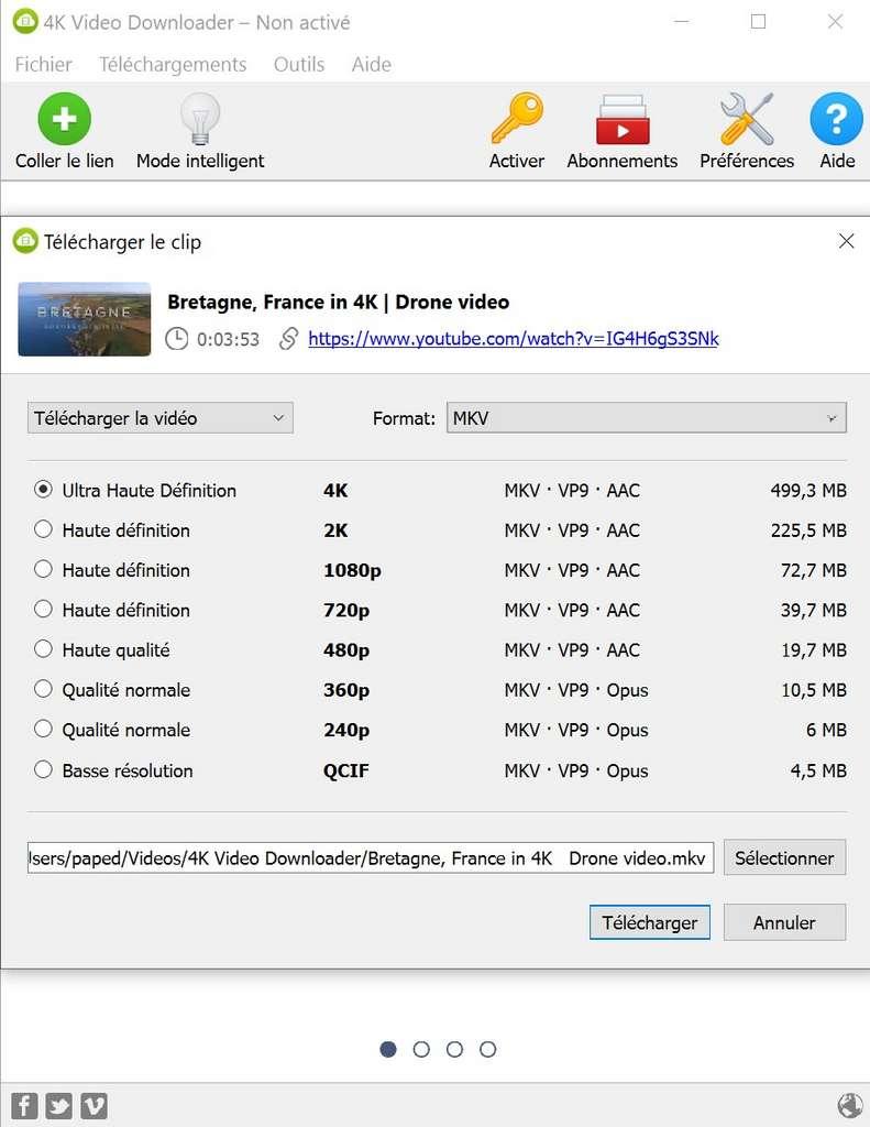 4K Video Downloader permet de récupérer la vidéo dans sa définition originale, si l'utilisateur choisit le format MKV. © OpenMedia LLC.