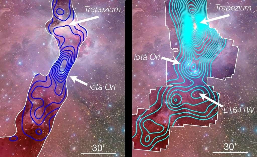 Pour réaliser la vue de gauche, les astronomes ont utilisé MegaCam, la caméra du CFHT, dont la longueur d'onde leur permet de voir ce qui se passe devant le nuage moléculaire d'Orion. On remarque alors une forte concentration d'étoiles autour de Iota Orion : c'est NGC 1980, dont on comprend ainsi qu'elle ne fait pas partie de la nébuleuse (à noter que les étoiles du Trapèze sont absentes de cette vue puisqu'elles se trouvent dans le nuage moléculaire). L'image de droite a été réalisée en couplant des données du CFHT et celles fournies par XMM-Newton. Cette fois les longueurs d'onde utilisées permettent de voir à travers le nuage moléculaire : tous les amas d'étoiles sont détectés, qu'ils soient à l'avant du nuage (comme NGC 1980) ou à l'intérieur (comme le Trapèze et un nouvel amas, L1641W). © CFHT, XMM-Newton, J. Alves, H. Bouy