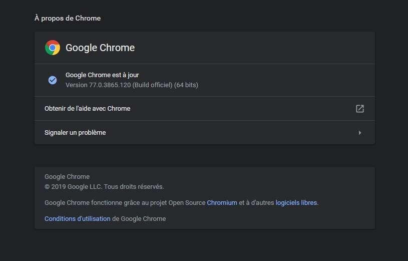 Le mode sombre de Chrome est désormais activé sur votre PC. © Google Inc.