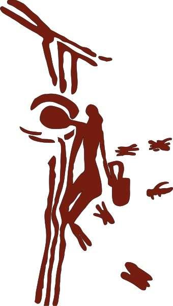 Reproduction d'une peinture rupestre de récolte de miel, datée entre 8.000 et 6.000 av. J.-C., des grottes de la Araña (« de l'Araignée »), proches de Bicorp en Espagne. © Wikipedia, GNU