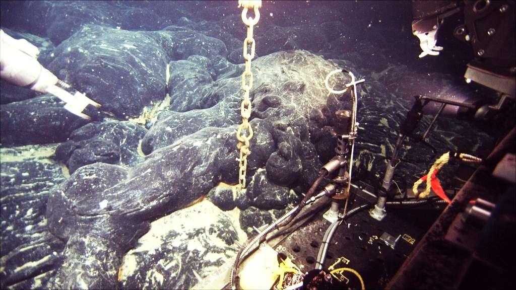 Sur cette image, l'un des hydrophones déposés sur les flancs du volcan Axial Seamount. L'éruption de 2011 l'a partiellement recouvert de lave. © Woods Hole Oceanographic Institution