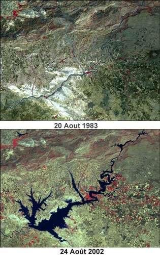 Image Lansat montrant la région avant l'entrée en service du barrage Atatürk, en 1983 (en haut), et après, en 2002 (en bas). © DR