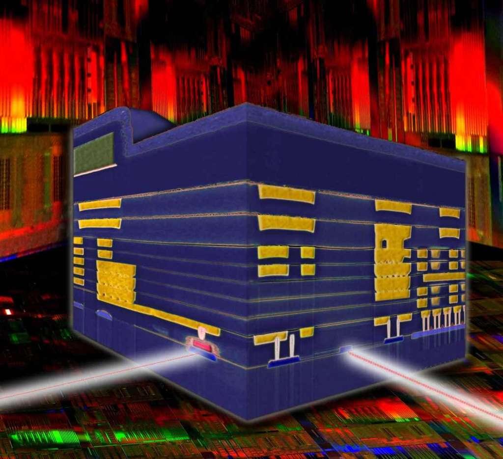 Ce circuit nanophotonique est le fruit de 10 ans de recherche chez IBM. Cette illustration montre le cube de silicium de 0,5 mm de côté. Il intègre tous les éléments constituant un émetteur-récepteur. Sur le flanc gauche se trouve le photodétecteur optique (en rouge). Le modulateur (qui modifie à la demande le signal lumineux) est placé sur la partie droite du cube (en bleu). © IBM Labs