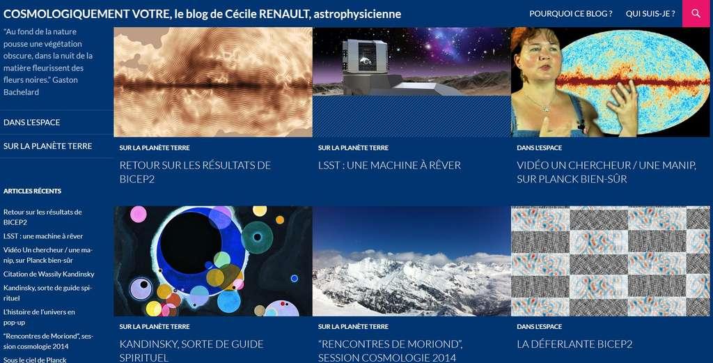 Dans son blog Cosmologiquement vôtre, Cécile Renault nous fait entrer dans les coulisses de la cosmologie et donne à voir, et à comprendre, les découvertes parmi les plus fascinantes de la physique.