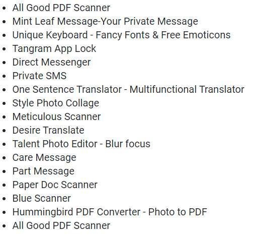 Voici la liste des 17 applications infectées par le virus Joker. © Futura