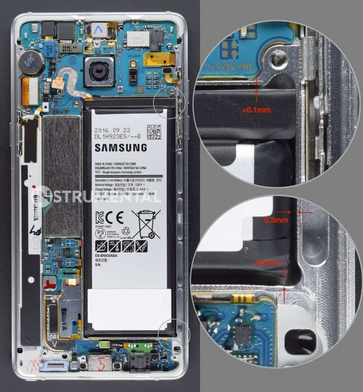 Ce montage réalisé par Instrumental nous montre la batterie lithium ion d'un Galaxy Note 7 engoncée dans son logement qui ne laisse pas l'espace nécessaire à la dilation qui survient pendant les phases de charge/décharge. © Instrumental