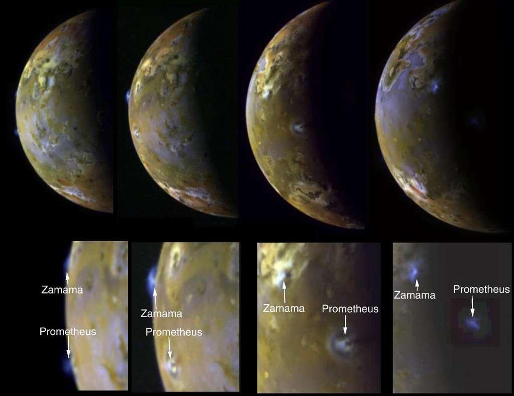 Ces images globales de Io prises par la sonde Galileo montrent clairement son activité éruptive. Deux volcans associés à des paterae, des sortes de caldeira volcanique, sont indiqués. © Nasa, JPL, University of Arizona