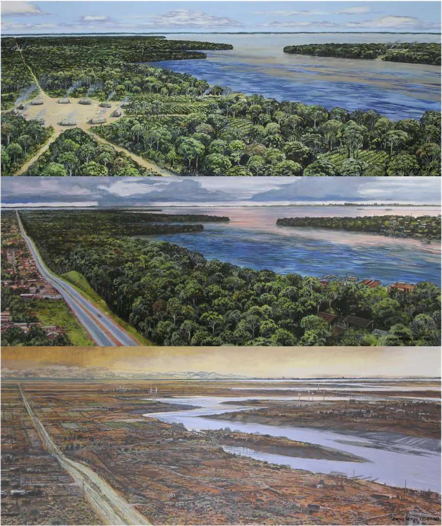 Ici, de haut en bas, un village traditionnel en Amazonie – vers 1500 – avec un accès à la rivière et des cultures plantées dans la forêt tropicale. La même région aujourd'hui, traversée d'une grande route. Et toujours la même en 2500, avec un paysage cette fois aride, un faible niveau d'eau dû au déclin de la végétation, des infrastructures clairsemées et une activité humaine réduite. © Lyon et al., 2021, CC by-ND