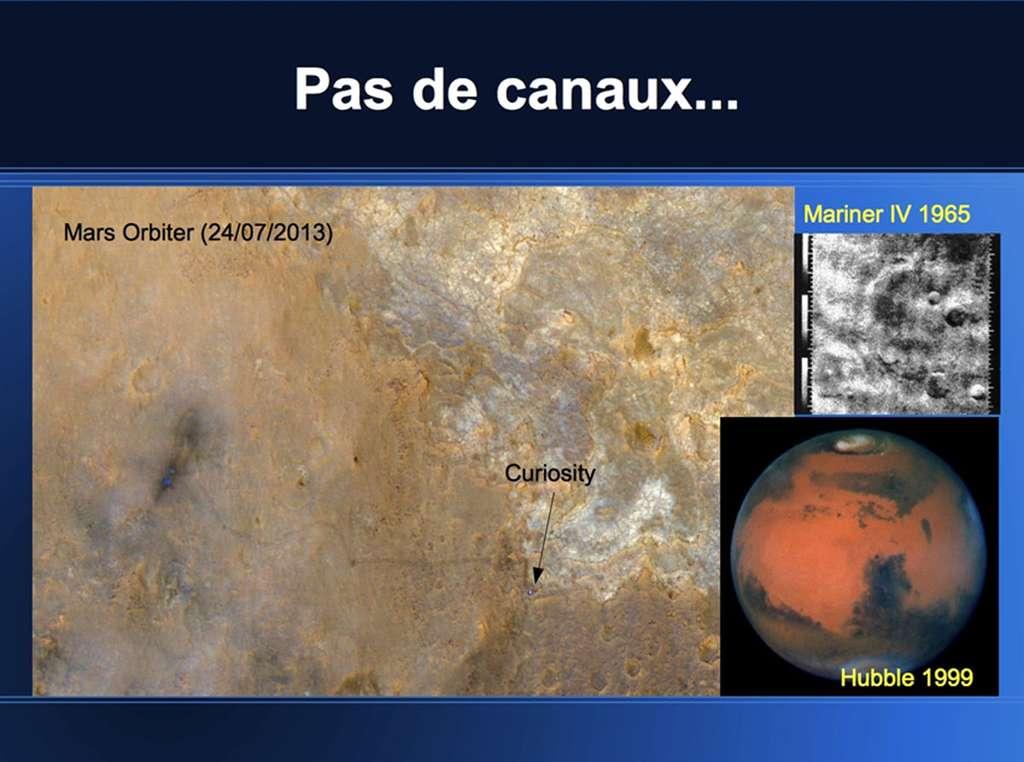 Le robot astromobile Curiosity repéré à la surface de Mars et photographié par Mars Orbiter en 2013. En haut à droite, Mars vu par Mariner IV en 1965, et par Hubble en 1999 en bas à droite. © Nasa, JPL-Caltech, University of Arizona