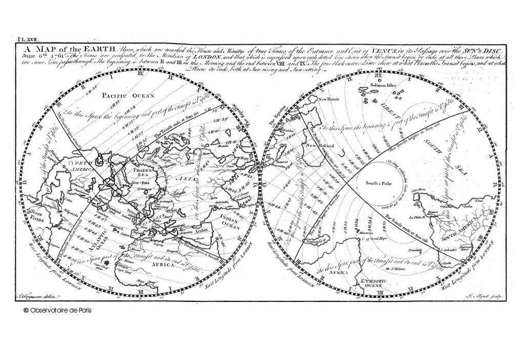 Mappemonde du transit de Vénus en 1761 rapportée au méridien de Greenwich et réalisée par J. Ferguson. © Observatoire de Paris