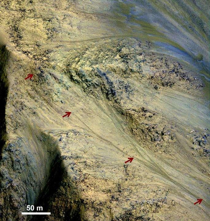 Âprement discutées lors des réunions scientifiques de la mission Mars Reconnaissance Orbiter, les RSL (recurrent slope lineae, lignes de pente récurrentes) remarquées depuis 2011 sur les images de la caméra HiRise témoignent d'une surface dynamique qui pourrait être modifiée occasionnellement par des fuites d'eau liquide saumâtre. © Nasa, JPL-Caltech, University of Arizona