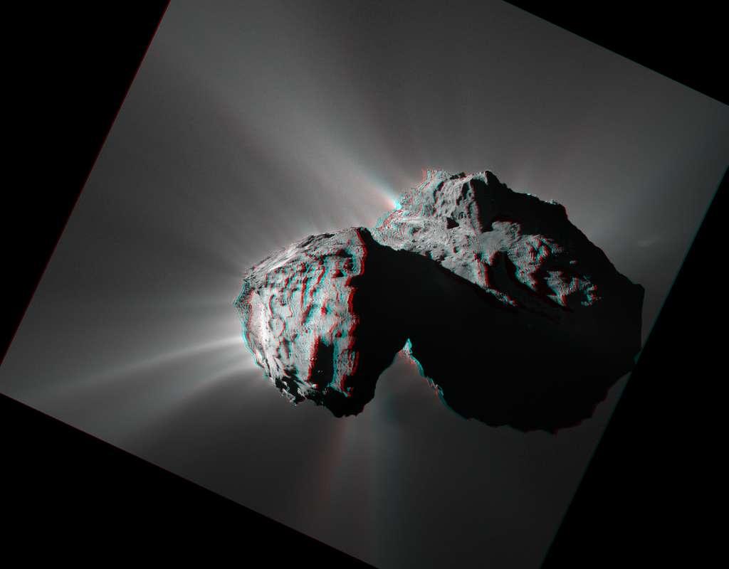 Une vue de la comète 67P/Churyumov-Gerasimenko en relief. © CNES, ESA, Rosetta, MPS pour Osiris Team MPS, UPD, LAM, IAA, SSO, INTA, UPM, DASP, IDA