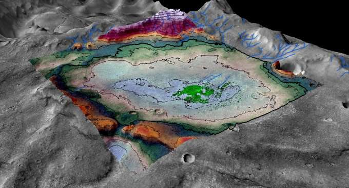 Vue en perspective du cratère qui accueillait un lac empli d'une eau dont la salinité était de 8 % celle de nos océans. Les dépôts de chlorure s'étendent sur 29 km2. Il était alimenté par des rivières qui descendaient des montagnes qui l'entoure. © LASP, Brian Hynek