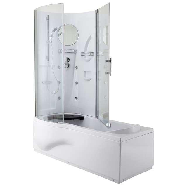 Cette baignoire combine l'agrément de l'hydromassage à la verticale et le confort du bain. La cuve (ergonomique) est en acrylique renforcé sur structure à vérins, l'espace douche à fond thermoformé avec rangements intégrés et porte en verre trempé. © Gelco Design